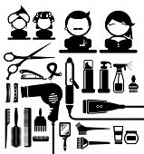 Hair styling icons set