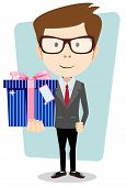Businessman with colorful gift boxes Vector