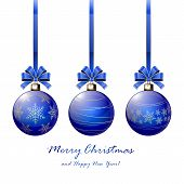 Three Blue Christmas Balls