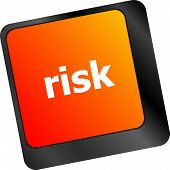 Risk Management Keyboard Key Showing Business Insurance Concept