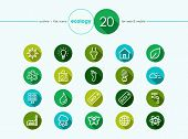 Ecology and go green flat icons set