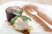 Warm Chocolate Cake Fondant With Ice-cream Ball, Almond, Mint, Citron