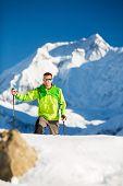 Man Hiking Explore In Himalaya Mountains In Nepal