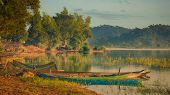 Panorama of a Lak lake at sunrise