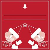 New Year Card With Two Santas