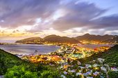 Постер, плакат: Philipsburg Sint Maarten Dutch Antilles cityscape at the Great Salt Pond