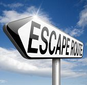 escape route avoiding stress and break free running away to safety no rat race emergency exit