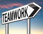 teamwork  road sign concept, team work and cooperation in partnership working together business partners