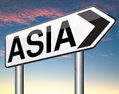 asia for travel and tourism vacation destination leading to asian continent road sign  poster