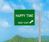 Road Sign Concept To Happy Time