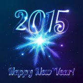 Year 2015 symbol with shining cosmic snowflake