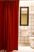 Small Bathroom Red Curtain