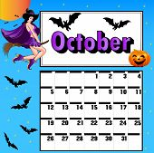 Calendar For October Bats Pumpkin Witch On A Broomstick