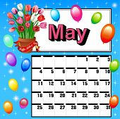 Calendar For May, Mother's Day Flowers And Balloons