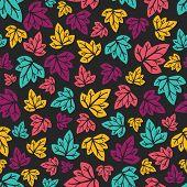 Grape leaves pattern. Hand-drawn seamless pattern.