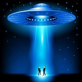 stock photo of flying saucer  - Flying saucer arrived at night - JPG
