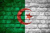 stock photo of algeria  - flag of Algeria or Algerian banner on brick texture - JPG