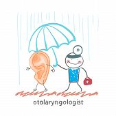 otolaryngologist  holding an umbrella over the patient