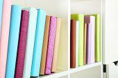 Books on shelf, close-up