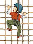 Illustration Featuring a Boy Climbing a Net Wall