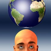 Man with earth Elements of this image furnished by NASA