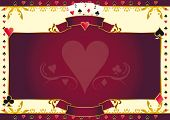 Poker game heart horizontal background. A  background for your Poker Tournament with a heart shape. Write your message on the empty frame. Dimensions are ideal for a screen