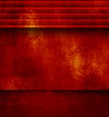 Grunge red room with open shutter and old floor