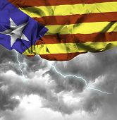 Catalonia waving flag on a bad day