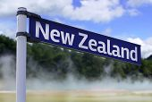 New Zealand sign on a beautiful landscape background