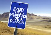 Every Thing Happens For a Reason sign with a desert background