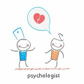 psychologist is listening to the patient, who speaks of love