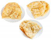 Three Plates With Cheburek Pie Isolated