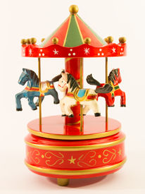 picture of merry-go-round  - red merry-go-round old  horse carillon wooden carouse ** Note: Soft Focus at 100%, best at smaller sizes - JPG
