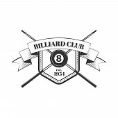 picture of snooker  - Billiards and snooker sports emblem with text for sporting logo and leisure design - JPG