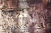 stock photo of building relief  - Ancient stone relief in Angkor Wat - JPG