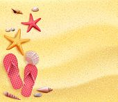 picture of starfish  - Summer Holidays Blank Background in the Yellow Beach Sand with Slippers - JPG