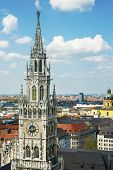 pic of city hall  - Munich city center skyline view to City hall clock tower - JPG