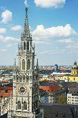 image of city hall  - Munich city center skyline view to City hall clock tower - JPG