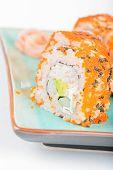 picture of masago  - California maki sushi with masago - JPG