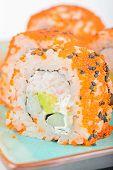 stock photo of masago  - California maki sushi with masago - JPG