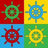 foto of steers  - Pop art steering wheel symbol icons - JPG