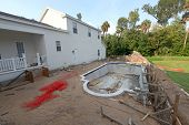 stock photo of swimming  - A Swimming Pool under construction in Florida - JPG