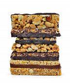 stock photo of roughage  - Chocolate Muesli Bars isolated on white background - JPG