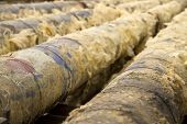 picture of glass-wool  - Old metal pipes are cleaned from glass wool - JPG