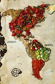 foto of kindness  - Map of world made from different kinds of spices - JPG