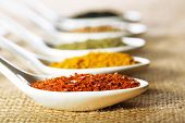 stock photo of sackcloth  - Different kinds of spices in ceramics spoons - JPG