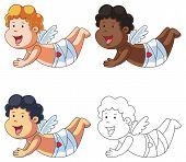 foto of cupid  - A set of cartoon cupids flying  - JPG
