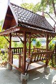 stock photo of gazebo  - asian style wooden gazebo in the garden  - JPG