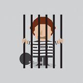 image of jail  - Prisoner In Jail Vector Illustration - JPG