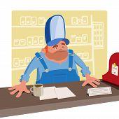 picture of cashiers  - Sullen cashier in a large baseball cap standing behind the desk - JPG